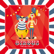 vector card with clowns
