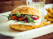 Leinwanddruck Bild - Halloumi Cheese and Rocket Salad Homemade Burger