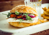 Halloumi Cheese and Rocket Salad Homemade Burger