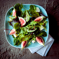 Appetizing Figs and Wild Salad on Rustic