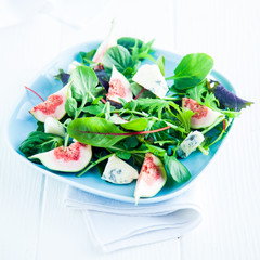 Figs and Wild Salad on Square Plate