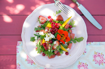 Summer Salad Melon, Strawberry and Redcurrants