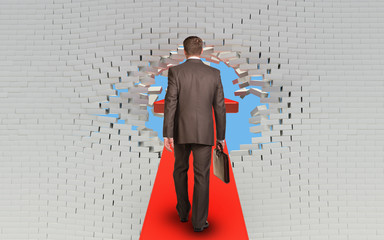 Businessman walking on arrow pierced brick wall