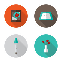 Flat Decor Furniture icons set