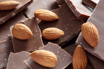 Almonds on chocolate pieces