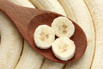 Bananas in a wooden spoon