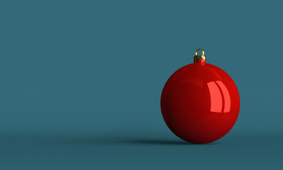 Red Christmas ball on bluish background