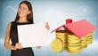Businesswoman hold paper sheet