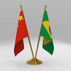 double table flag, partnership china and brazil