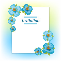 Design of invitation card with pretty stylized flowers.