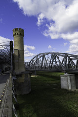 Steel railroad bridge over the river Wisla in Tczew