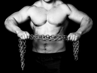 Strong man with a chain