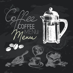 Coffee hand drawn chalkboard design set. Black chalk texture