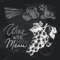 Wine hand drawn chalkboard design set. Black chalk texture