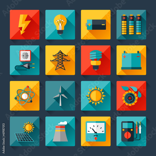 Set of industry power icons in flat design style. - 69187013