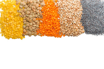 yellow, orange and brown  lentils, buckwheat and poppy
