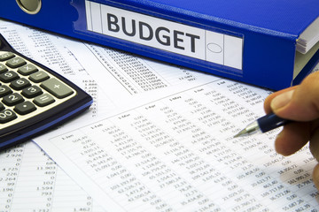 Budget Concept - Businessman working on project budget