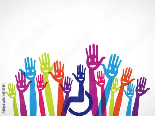 mains groupe intégration handicap - 69187814