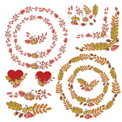 Autumn wreath set.Leaves, berries,branches,acorn