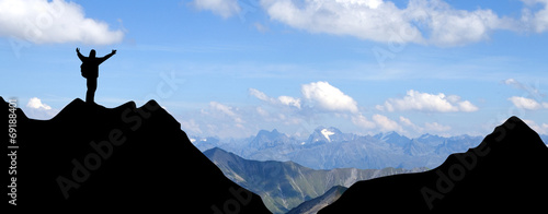 canvas print picture Bergsteiger in den Alpen