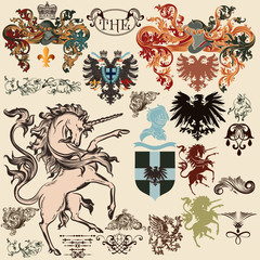 Collection of vector heraldic elements in vintage style