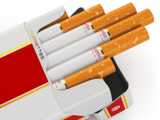 Generic cigarette pack on white background.