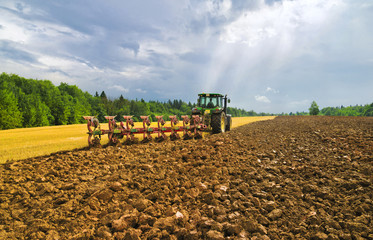 Plowing after a harvest