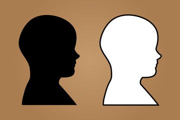 Vector human head symbol in black and white