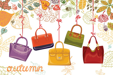 Autumn fashion. Women's handbags and leaves