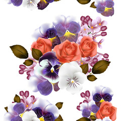 Seamless wallpaper pattern with roses and violets flowers