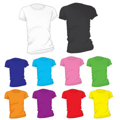 Women's Blank T-Shirt Template in Many Color