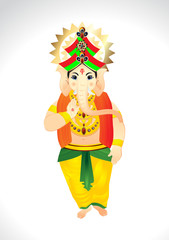 Vector Cartoon of Lord Ganesh