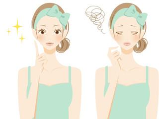 美容 スキンケア ひらめき悩む女性