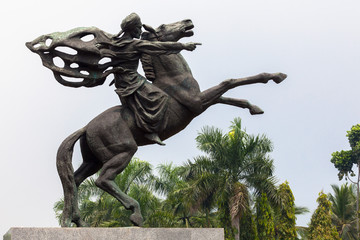 Statue of Prince Diponegoro riding a horse. Jakarta, Indonesia
