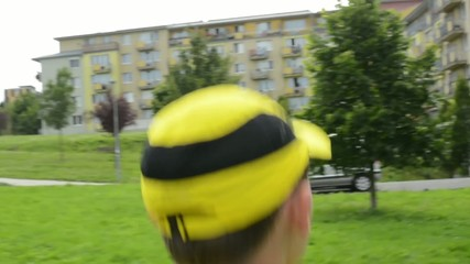 man sports - running - park - steadicam - detail of head