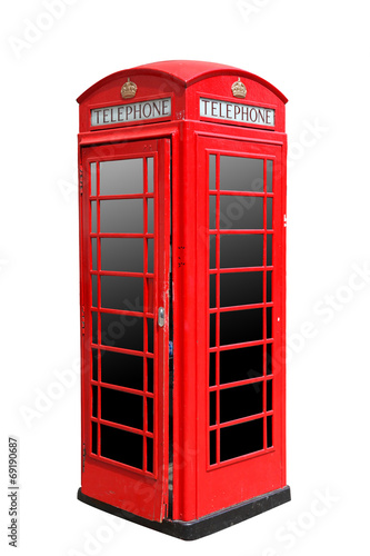 Classic British red phone booth in London UK, isolated on white