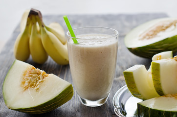 Fresh healthy drink  smoothie with melon and banana