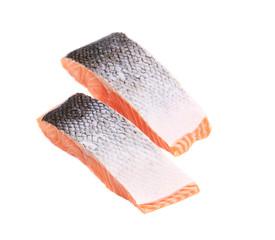 Sliced salmon fish.