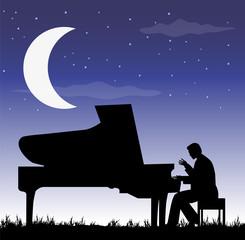 pianista sotto la luna