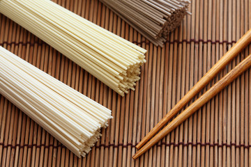 Japanese noodles with chopsticks on bamboo napkin