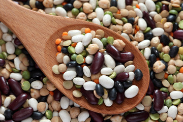 Mixed beans in a wooden spoon