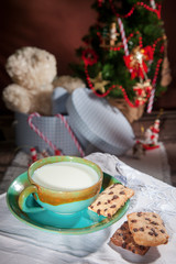 waiting for Santa Claus with a glass of milk