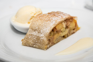 Baked Apple Tart with Vanilla Ice Cream and Sauce