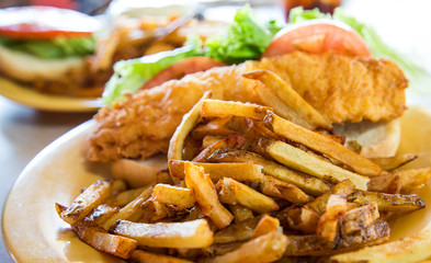 French Fries and Fried Fish Sandwich