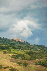 Beautiful Tuscan rural scenery atmosphere in storm