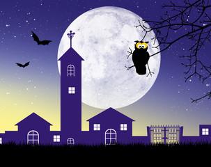 Owl on branche of Halloween