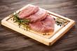 canvas print picture - Fresh raw pork on cutting board