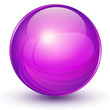 Sphere, 3D violet vector ball.