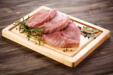 Fresh raw pork on cutting board