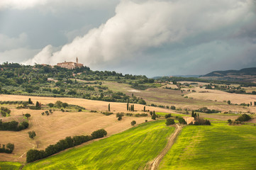 Beautiful Tuscan rural scenery atmosphere in storm